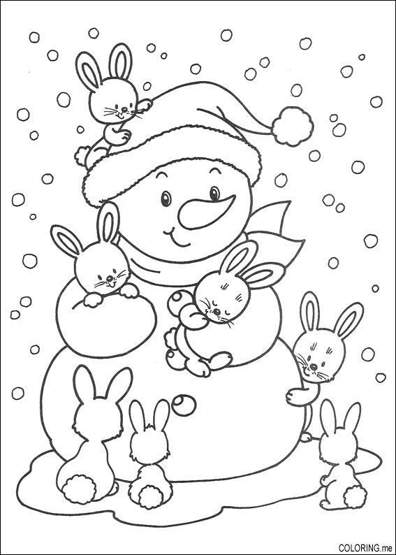 coloring page christmas snowman and rabbits coloringme