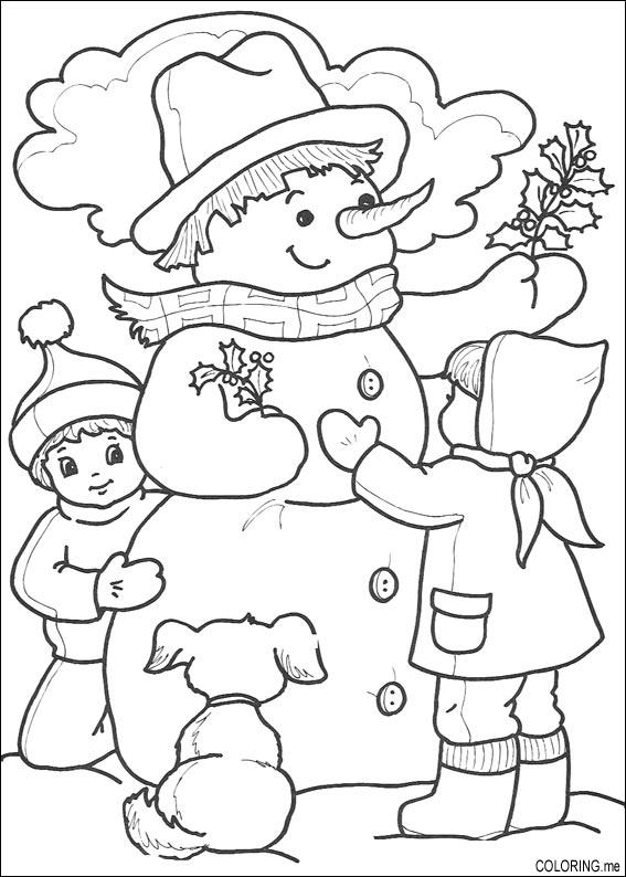 Coloring Page Christmas Snowman And Children