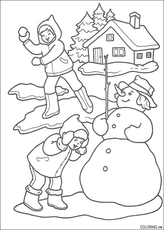 Coloring Page Christmas Playing Snow Ball