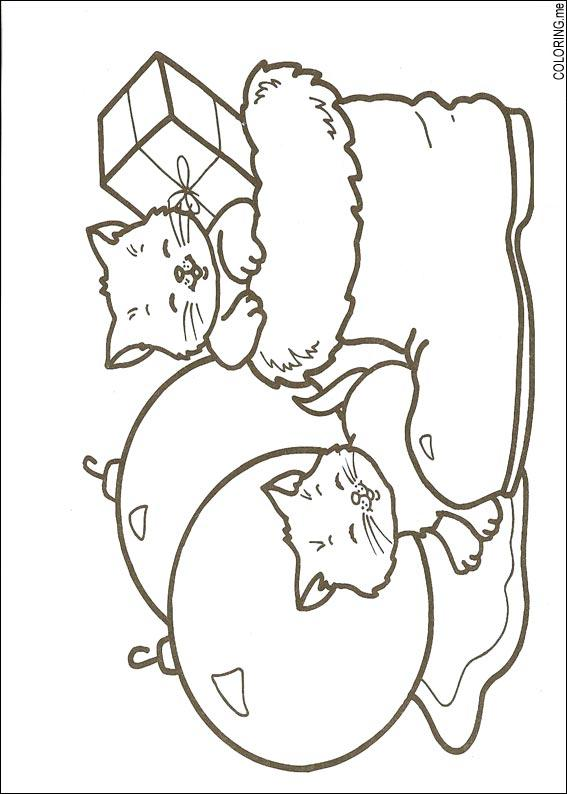 Coloring Page Christmas Cats
