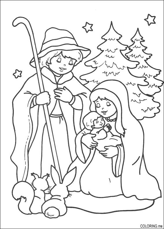 Coloring Page Christmas Jesus Born