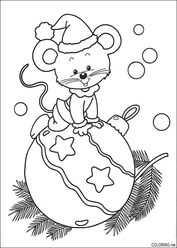 Coloring page Christmas mouse and ball Coloringme