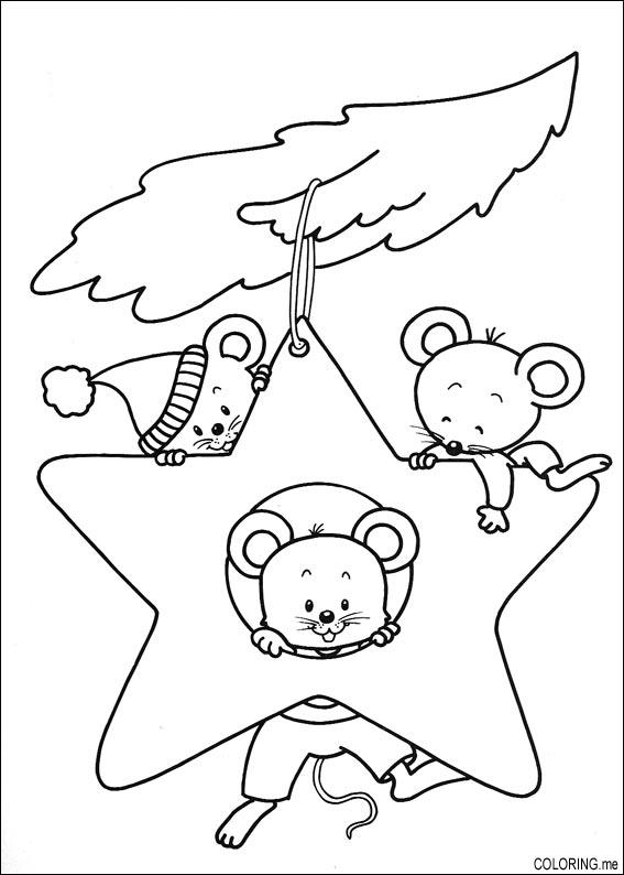 Coloring page Christmas mouse in stars Coloringme