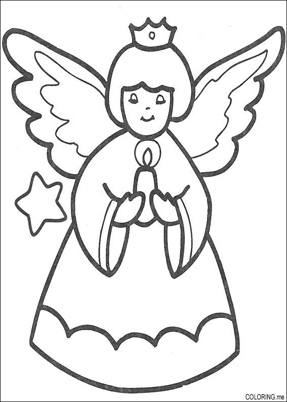 cartoon angel coloring pages | Coloring page : Christmas angel and candle - Coloring.me
