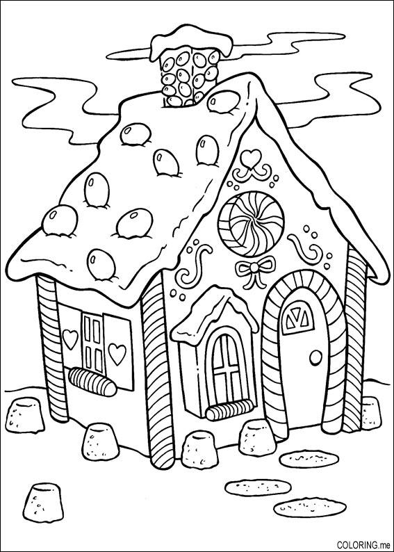 Coloring Page Christmas Cake House