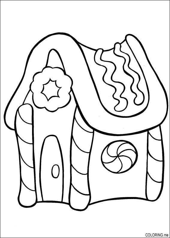 Coloring Page Christmas House Cake