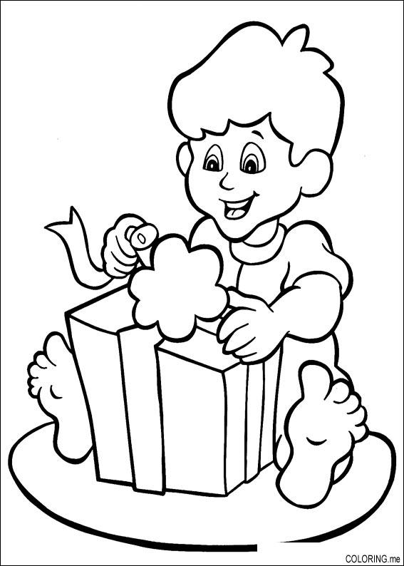 Coloring page christmas children open gift coloring negle Images