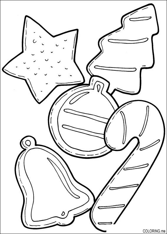 Coloring Page Christmas Cake Decoration