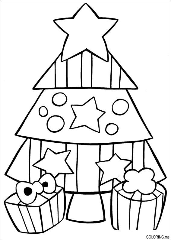 Coloring page christmas star tree for Christmas tree star coloring page