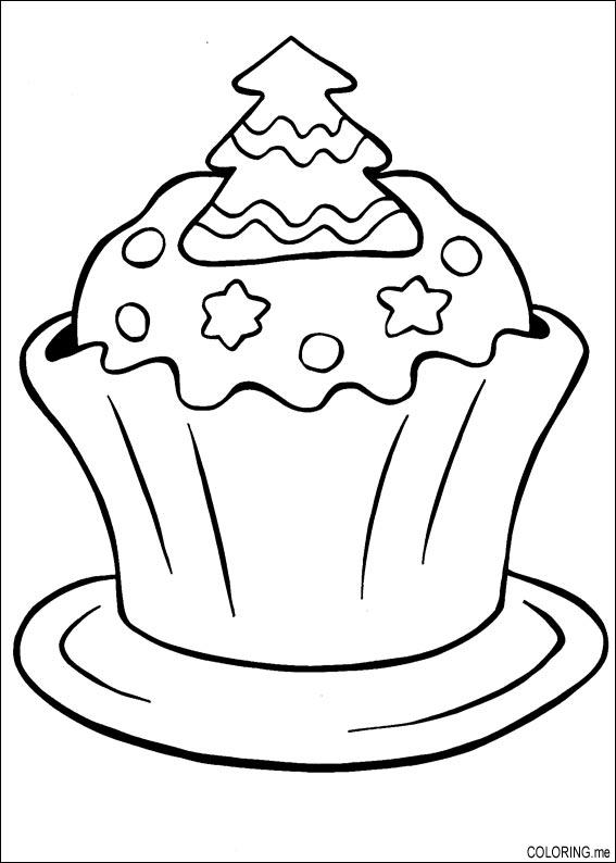 Traditional Xmas Cake Coloring Pages Hellokidscom