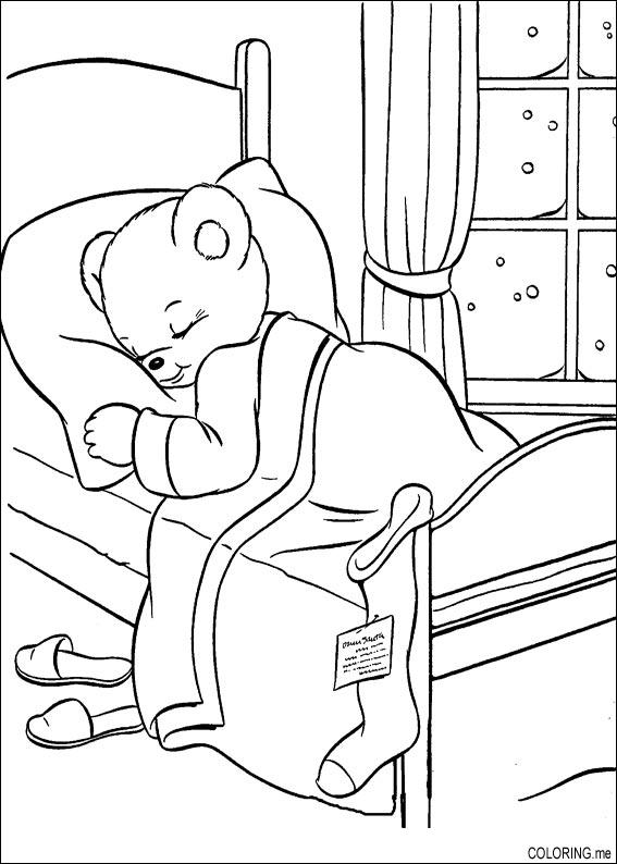 Coloring page : Christmas bear is sleeping - Coloring.me