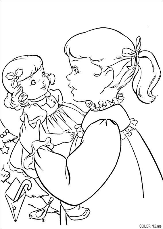 christmas coloring pages for girls - coloring page christmas girl and doll