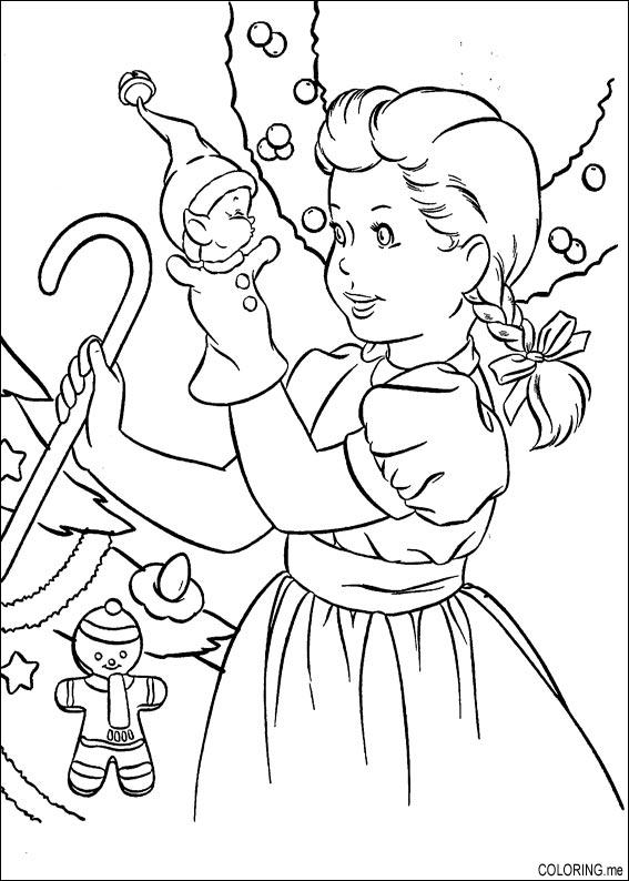 coloring page christmas girl playing with doll coloringme