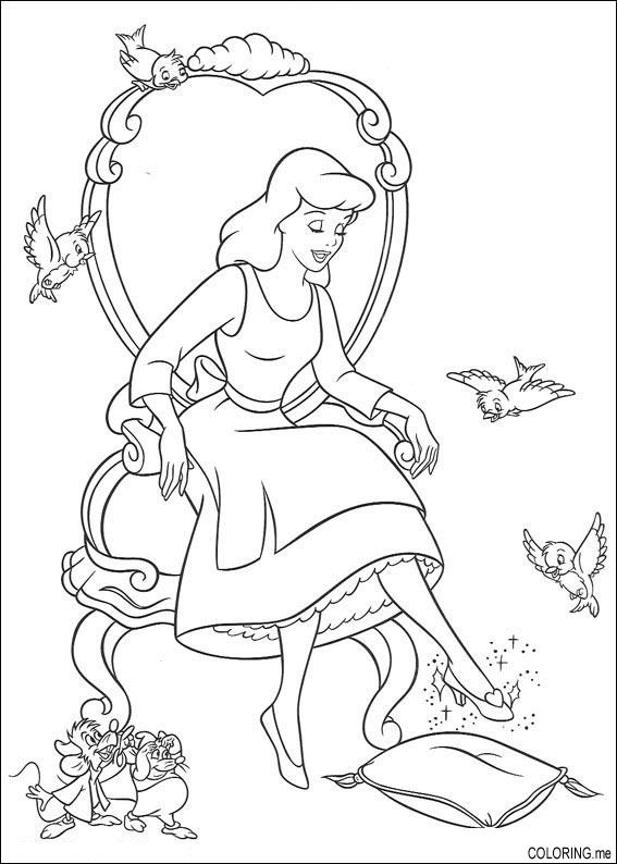 Coloring Page Cinderella And Her Glasses Shoes Coloringmerhcoloringme: Cinderella Shoe Coloring Pages At Baymontmadison.com